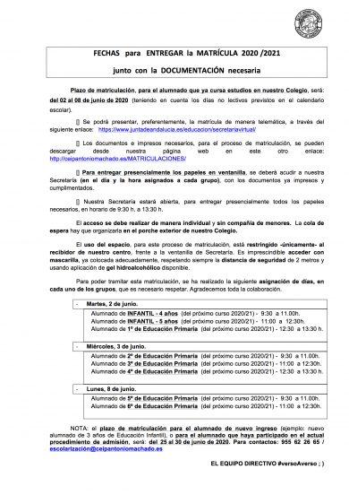 Comunicado matriculación 20-21