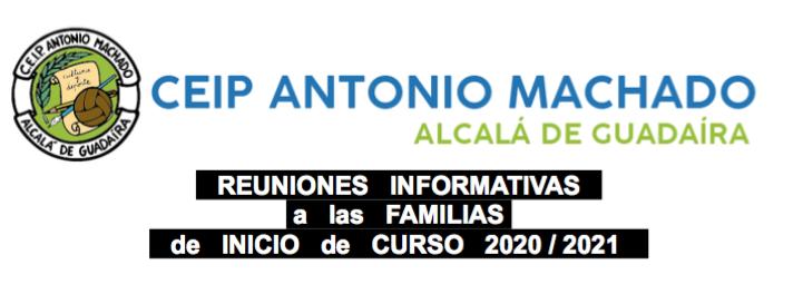 Reuniones Informativas a familias de Inicio de Curso 2020/2021